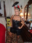 Blonde hottie Jolene dresses up as a naughty little devil for Halloween