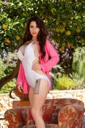 Brunette beauty Layla Summers shows you her tight pussy in the garden