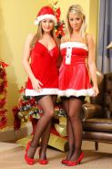 Jodie Gasson and Melissa D dress up as sexy santa's helpers