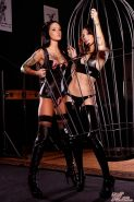 Two hot fetish girls get kinky in a dungeon called Passive Arts in Los Angeles