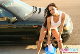 Pictures of Cali Logan washing her car