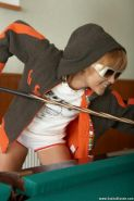 Pictures of Sasha Blonde and Natasha Sky playing a game of strip pool
