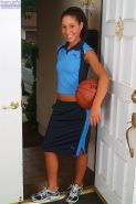 Spunky athletic teen Isabella strips naked with her basketball