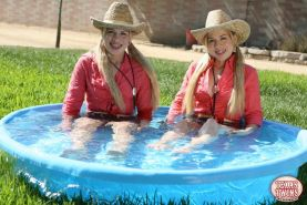Hot twin sisters The Texas Twins want you to come cool off with them in the pool