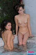Pictures of Shyla Jennings getting some lesbian sex in a hot tub
