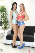 Hot teens Lady Dee and Alexis Crystal share a stranger's cock