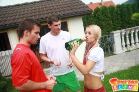 Pictures of teen cutie Sabrina Blond getting gangbanged after class