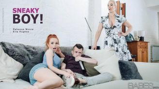 Rebecca More and Ella Hughes team up for a hot threesome