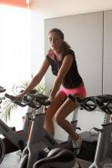 Brunette beauty Anastasia Black gets hot and wet in the gym