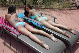 Nude sunbathing leads to a threesome romp for Mary Jane Johnson and Cassidy Klein