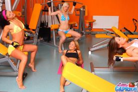 Pictures of Little Caprice getting fucked with her friends in a gym