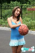 Tina Doll lets her huge boobs bounce while she plays basketball