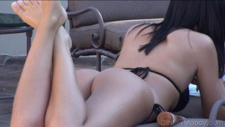 Destiny Moody caught us spying on her tanning and gave us quite the show
