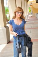 Stunning nerdy coed Phoebe strips off her jeans at the cafe