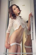 Skinny girl Adel Morel strips totally nude and spreads her legs for you