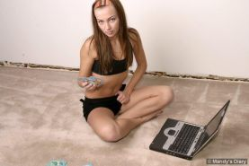Pictures of teen Mandy's Diary losing a game of strip poker