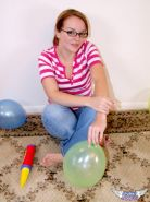Pictures of a cute teen in glasses and balloons