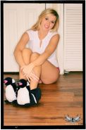 Blonde teen Spencer Nicks teases in her sheer panties and slippers