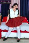 Busty girl Angela White shows you her huge tits in her schoolgirl outfit