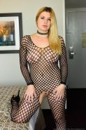 Danielle FTV gets fisted while using a vibrator in her fishnet bodysuit