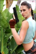 Busty Lana Kendrick gets in costume as Lara Croft