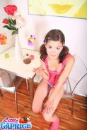 Pictures of teen star Little Caprice making a mess of her food