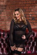 Blonde babe Jodie Gasson stripping from her sexy black lingerie #55538212