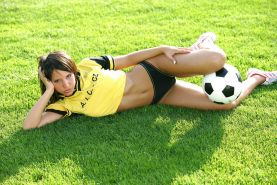 Monika Vesela gets hot while she plays soccer and takes her clothes off
