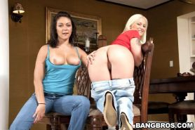 Teen hotites Roxy Love and Torrie team up to get one lucky cock off
