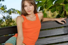 Pictures of teen Ivana Fukalot getting totally nude outside