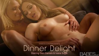 Ivana Sugar and Dani Daniels give each other a romantic evening of lesbian orgasm
