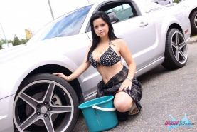 Pictures of teen porn girl Busty Ellen washing her car naked