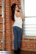 Busty beauty Chrissy Marie gives you a striptease in her jeans