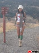 Pictures of a hot Canadian girl going for a hike in her panties