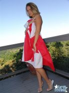 Pictures of Karen Dreams getting nude on a canadian flag
