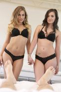 Hot teens Sydney Cole and Gia Paige give a threesome in bed