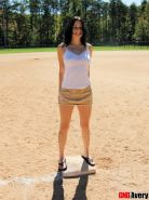 Avery flashes her tits and ass at the public park in the baseball field