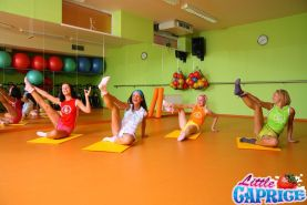 Pictures of Little Caprice getting it on with her friends in the gym