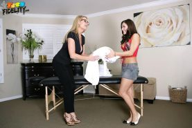 Gracie Glam goes for a massage and ends up having a threesome with a married couple