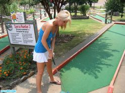 Pictures of teen chick Foxy Jacky playing some mini golf