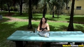 Brunette amateur Alyssa Bradyn gets picked up in a park for hot sex