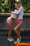 Two teens having a good time outdoors