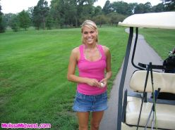 Pictures of Melissa Midwest playing one kinky game of golf