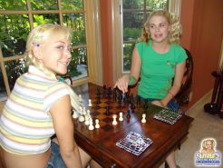 Little Summer gets her blonde friend over for the hottest game of chess ever
