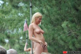 Hot strippers and cute girls show off at a public nudity outdoor party