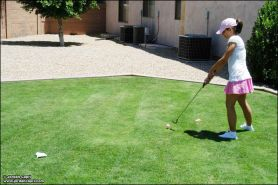 Pictures of teen Jordan Capri playing a sexy game of golf