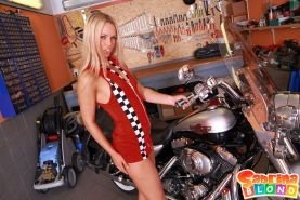 Pictures of teen star Sabrina Blond masturbating in a bike shop