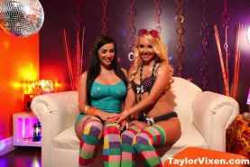 Taylor and Aaliyah put on colorful socks and eat pussy at the disco