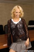 Curvy blonde hottie Georgia is your super naughty secretary for the day
