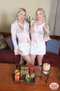 Hot blonde Texas Twins light some romantic candles and offer their hot bodies to you